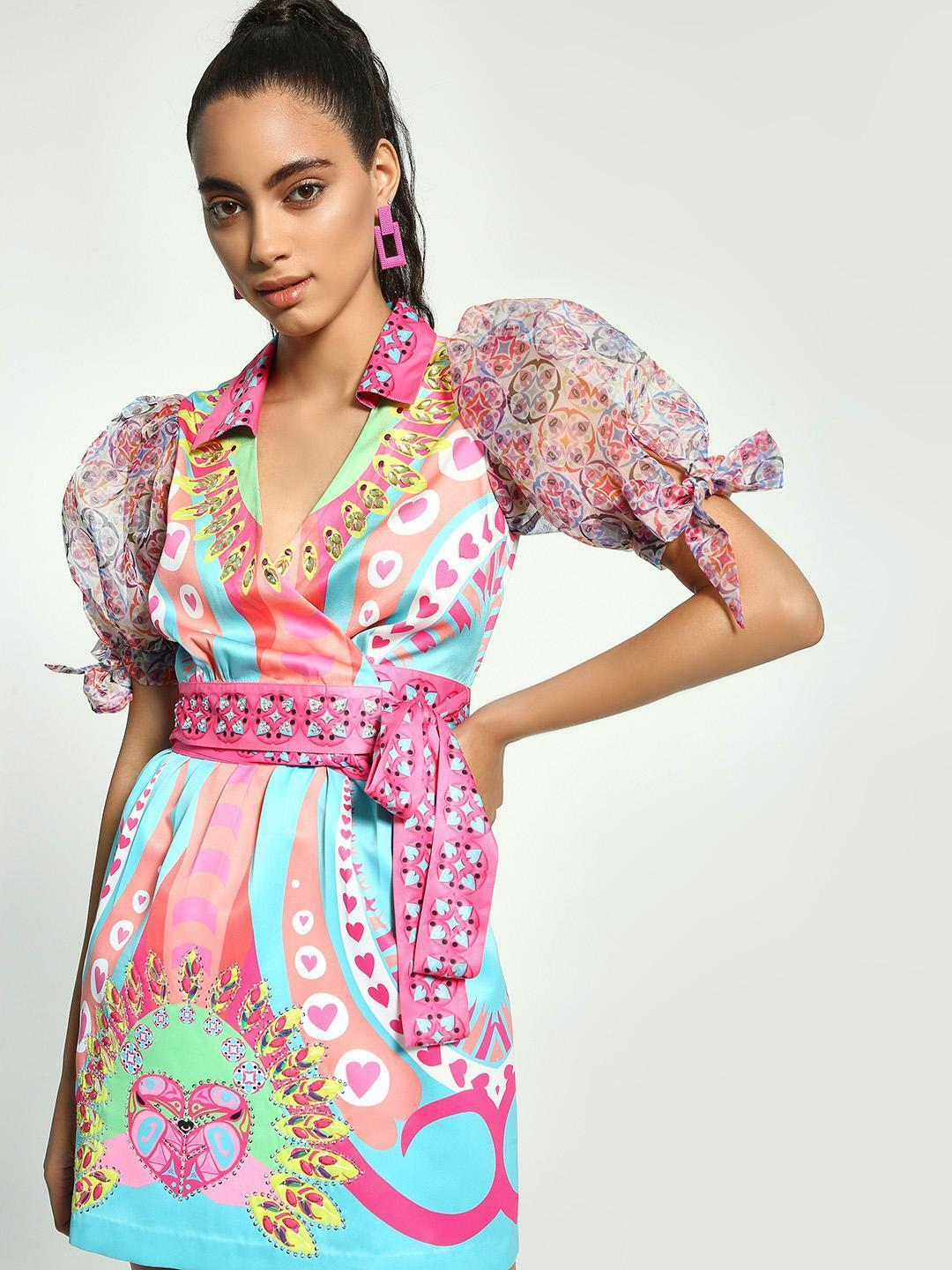 Manish Arora Paris X KOOVS Multi Digital Print Wrap Crop Top 1