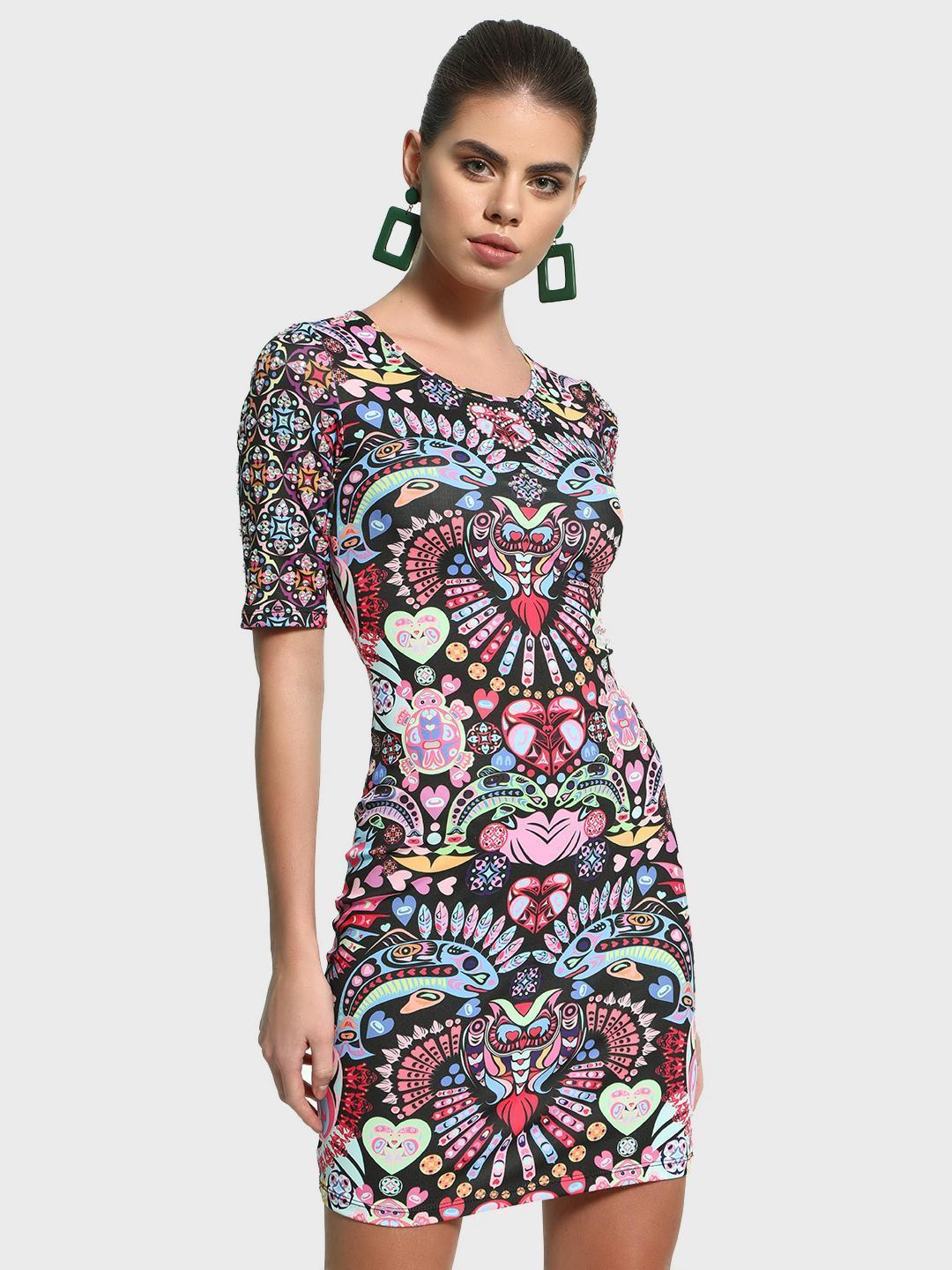 Manish Arora Paris X KOOVS Multi Digital Print Embellished Bodycon Dress 1