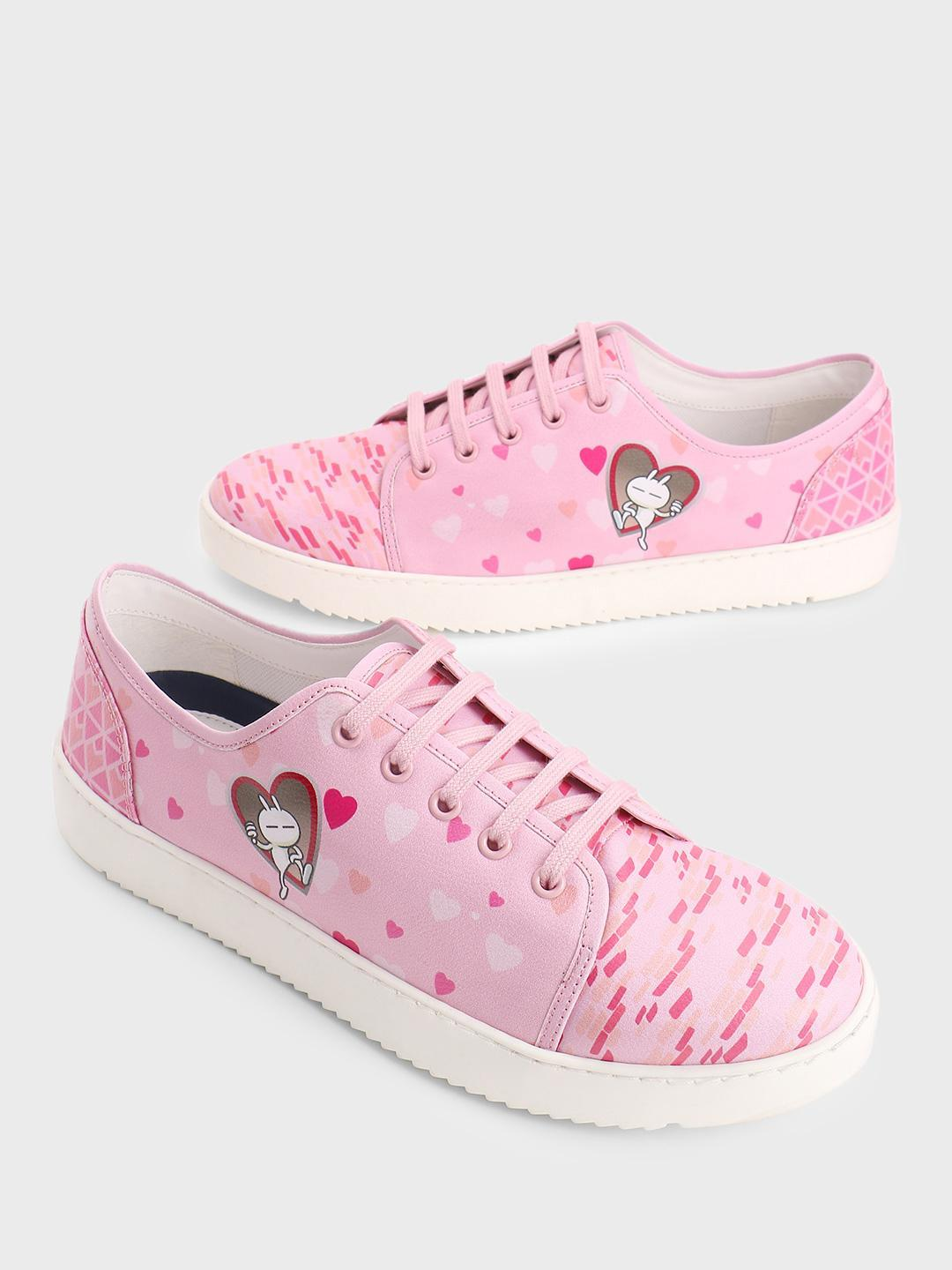 Manish Arora Paris X KOOVS Pink Tuzki Heart Digital Print Sneakers 1