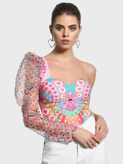 Manish Arora Paris X KOOVS Digital Print One Shoulder Bodysuit