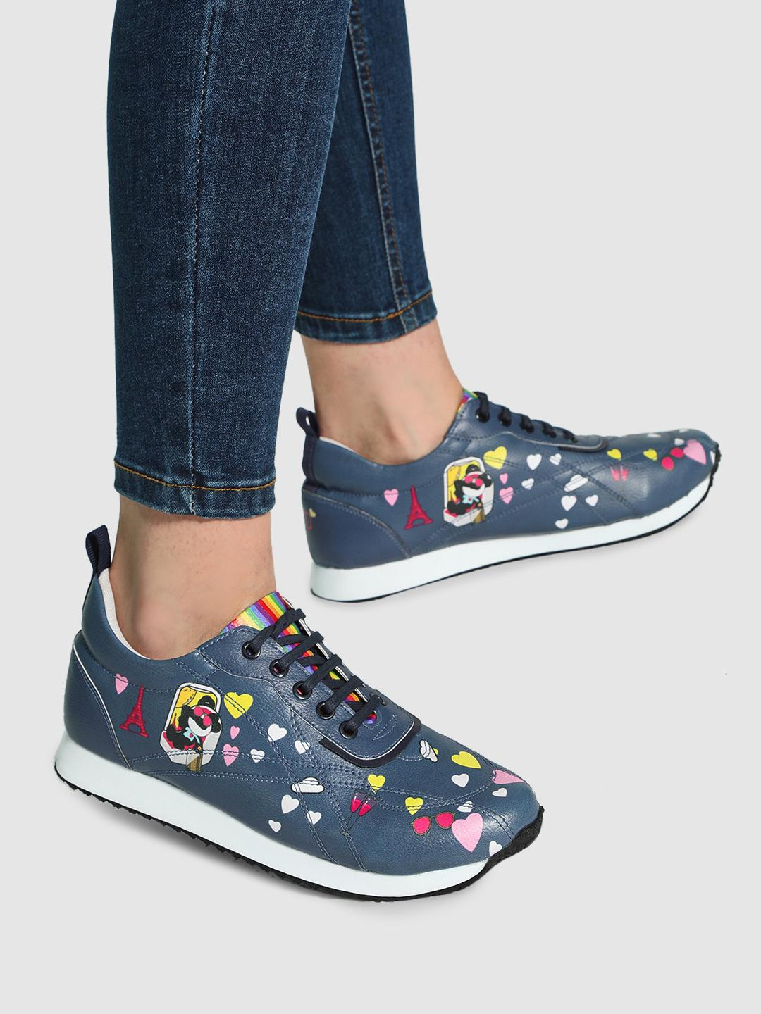 Manish Arora Paris X KOOVS Navy Tuzki Heart Print Trainers 1