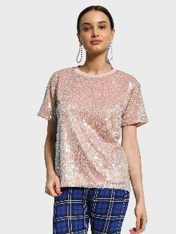 KOOVS Iridescent Sequin Oversized T-Shirt