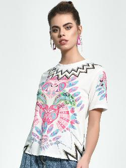 Manish Arora Paris X KOOVS Digital Placement Print Studded T-Shirt