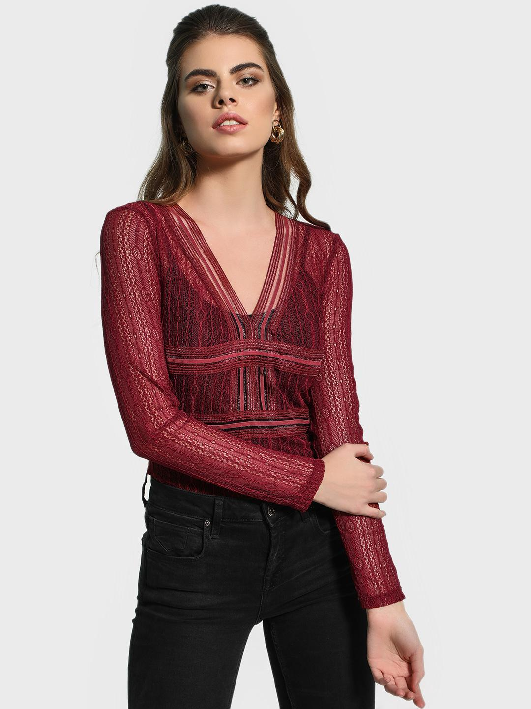 KOOVS Red Lace Back Cut-Out Bodysuit 1