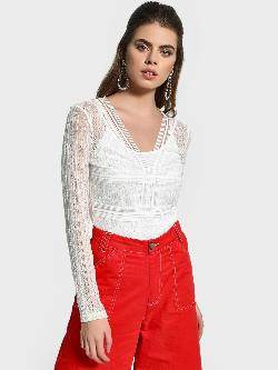 KOOVS Cut-Out Back Lace Bodysuit