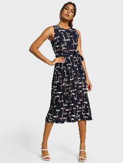 Cover Story Text Print Plisse Midi Dress