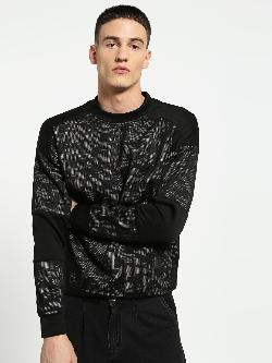 KOOVS Camo Mesh Panel Oversized Sweatshirt
