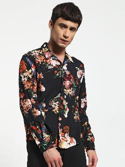KOOVS Digital Floral Print Cuban Shirt