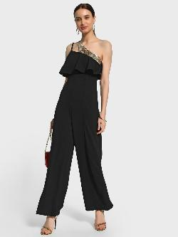 KOOVS Sequin Slash Neck Jumpsuit
