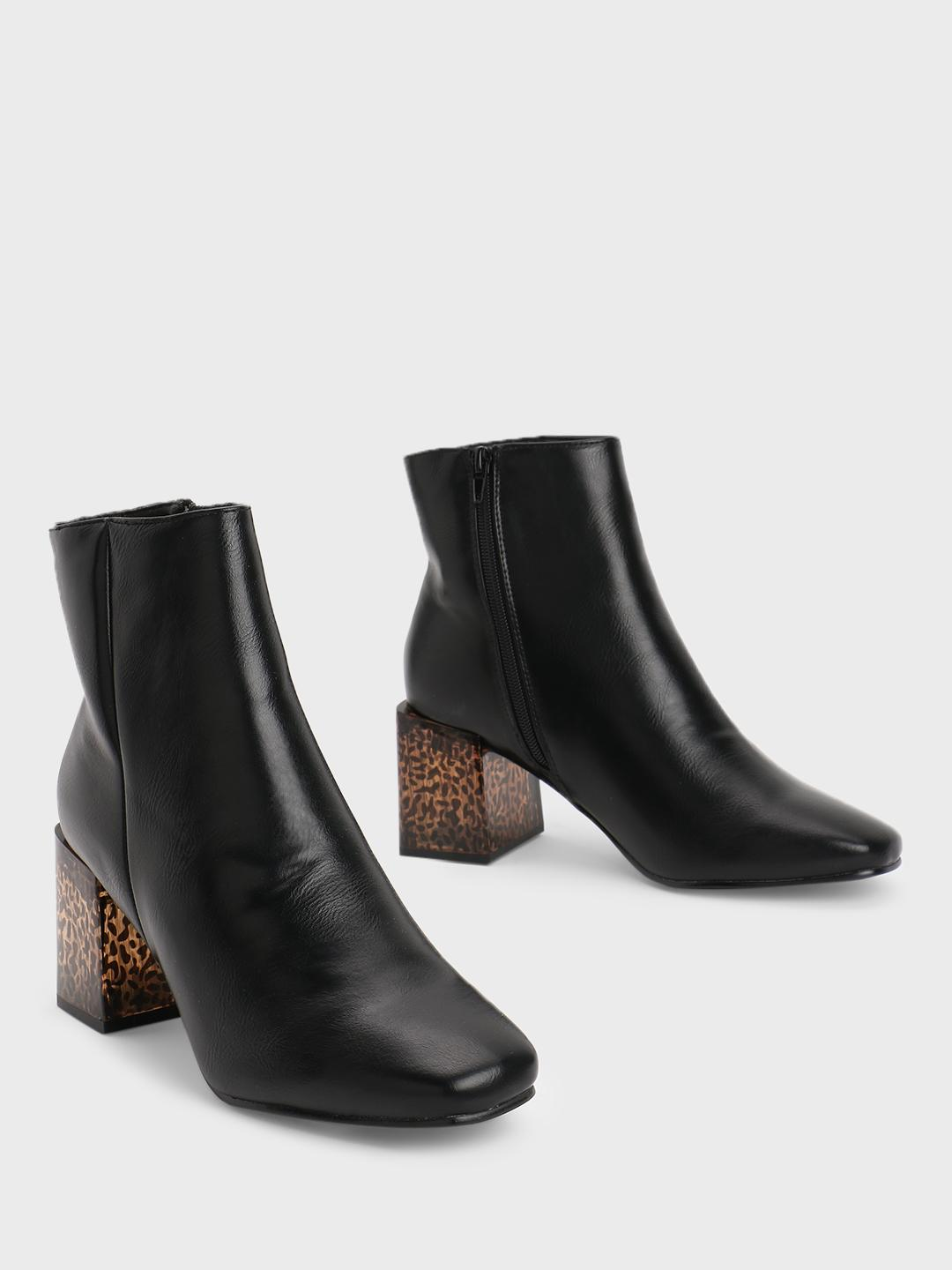 Truffle Collection Black Acrylic Heel Ankle Boots 1