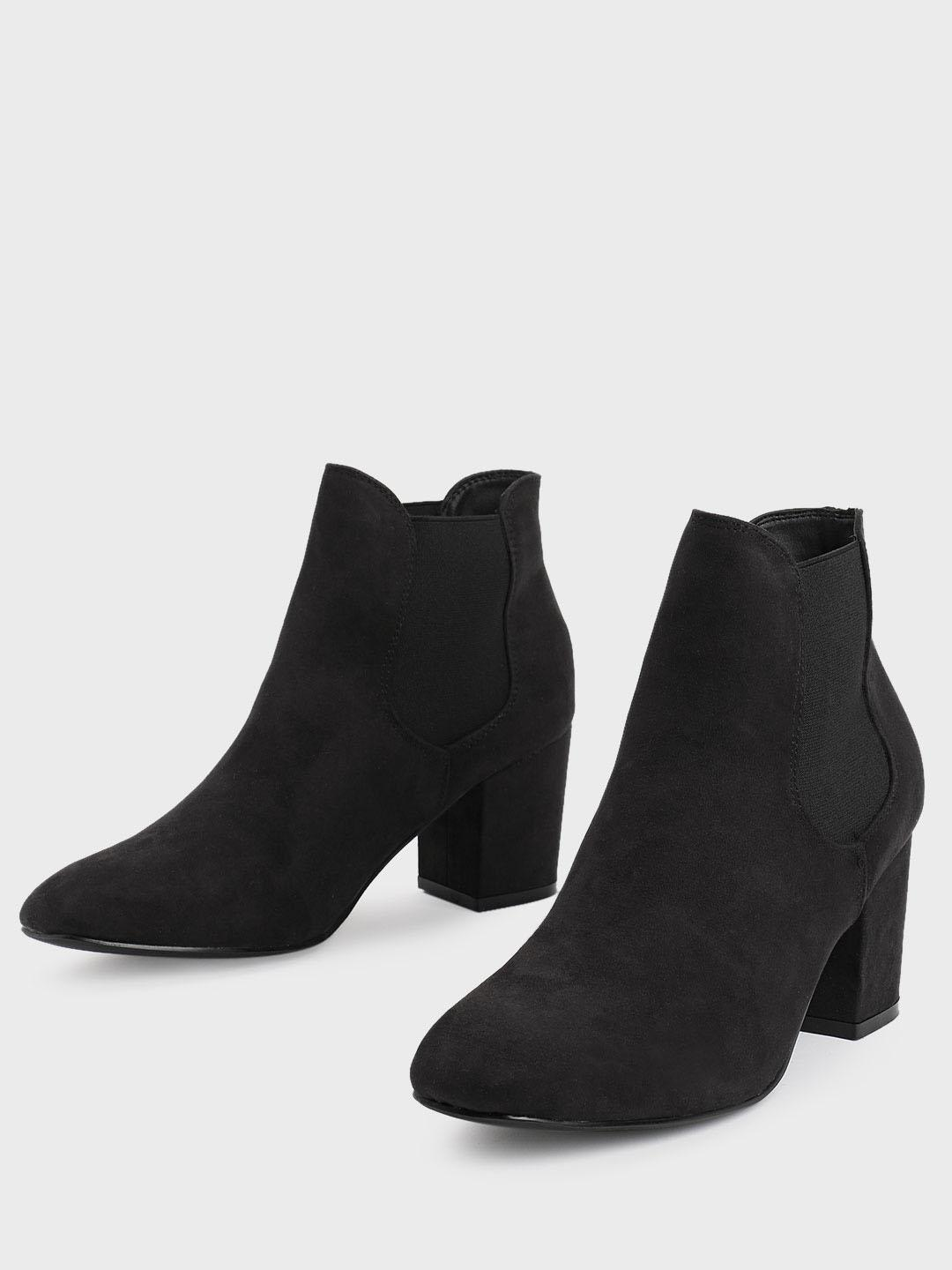 Truffle Collection Black Suede Heeled Chelsea Boots 1