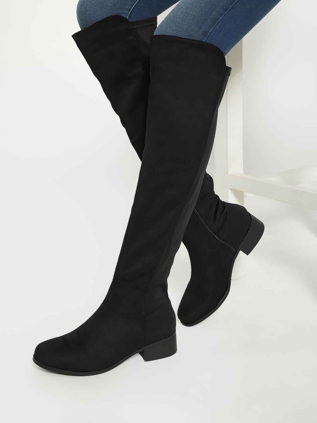 Truffle Collection Black Suede Knee-Length Boots 1