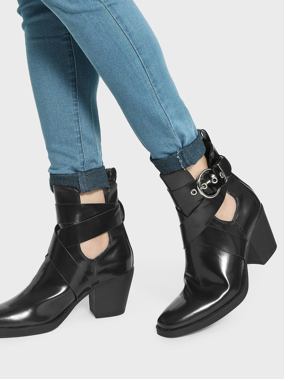 Truffle Collection Black Buckle Cross Strap Heeled Boots 1