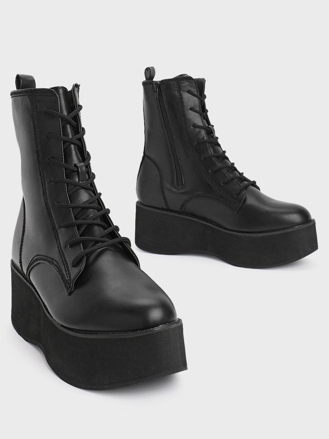 Truffle Collection Black Wedge Heel Lace-Up Boots 1
