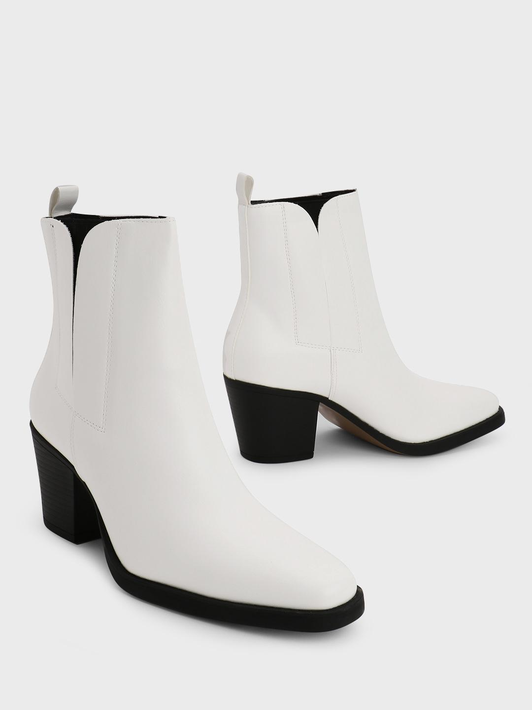 Truffle Collection White Pointed Toe Heeled Boots 1