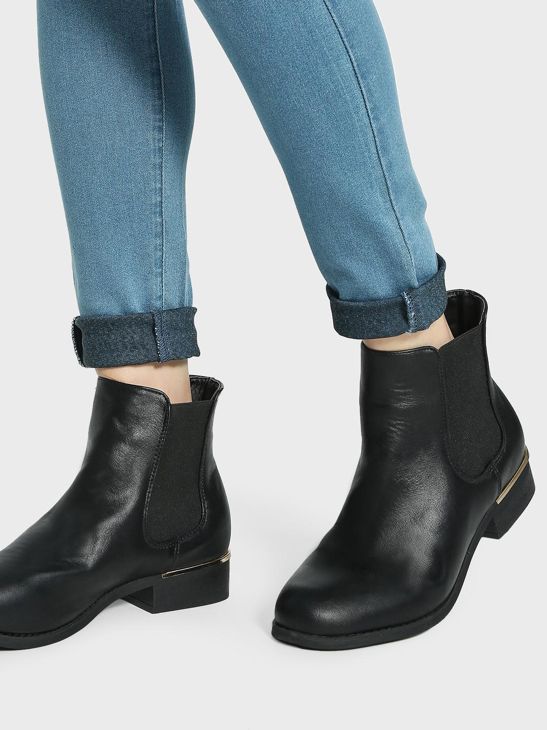 Truffle Collection Black Metal Trim Chelsea Boots 1