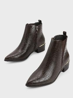 Truffle Collection Crocskin Zip-Up Block Heel Boots