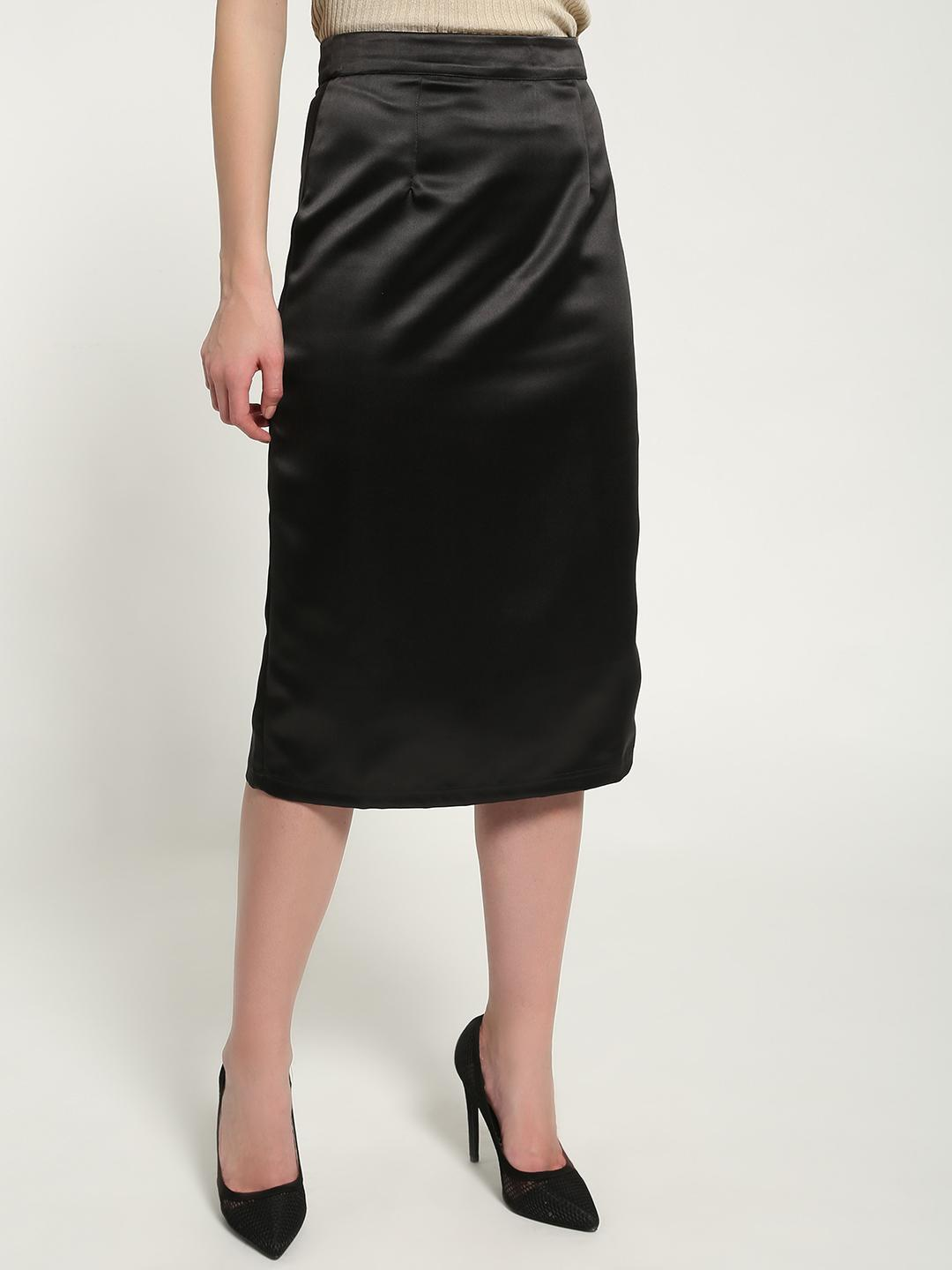 KOOVS Black Satin High-Waist Midi Skirt 1