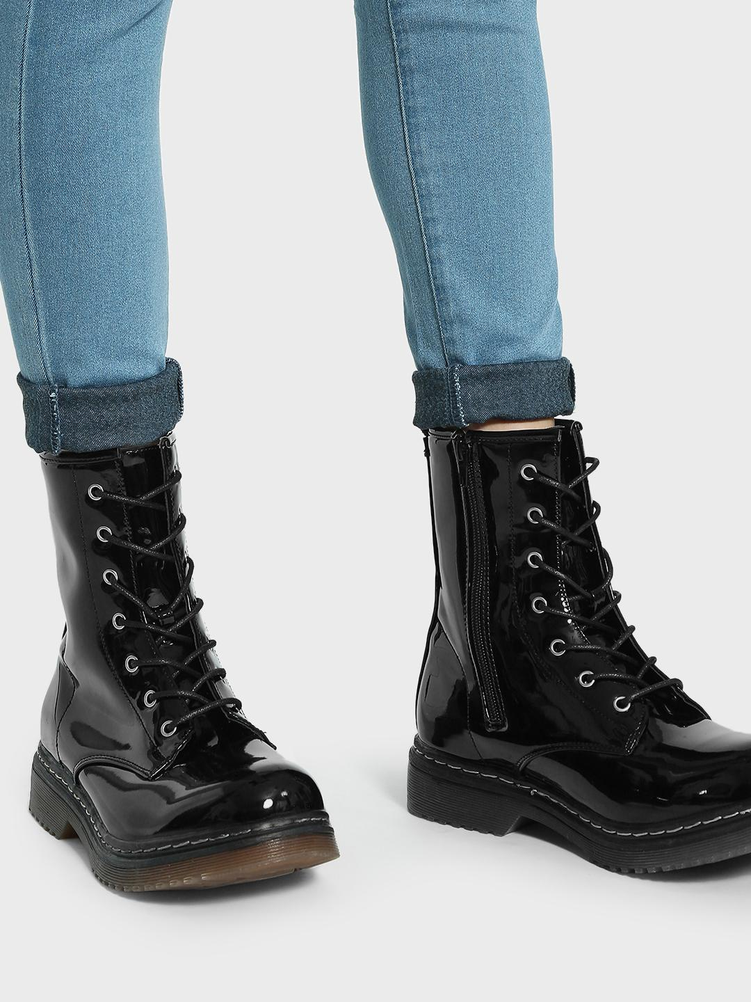 Truffle Collection Black Patent Lace-Up High Top Boots 1