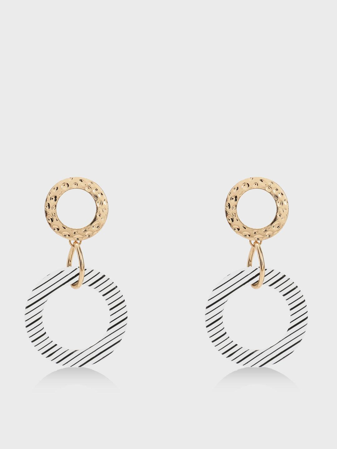 KOOVS Gold Hammered Metal Stripe Concentric Earrings 1