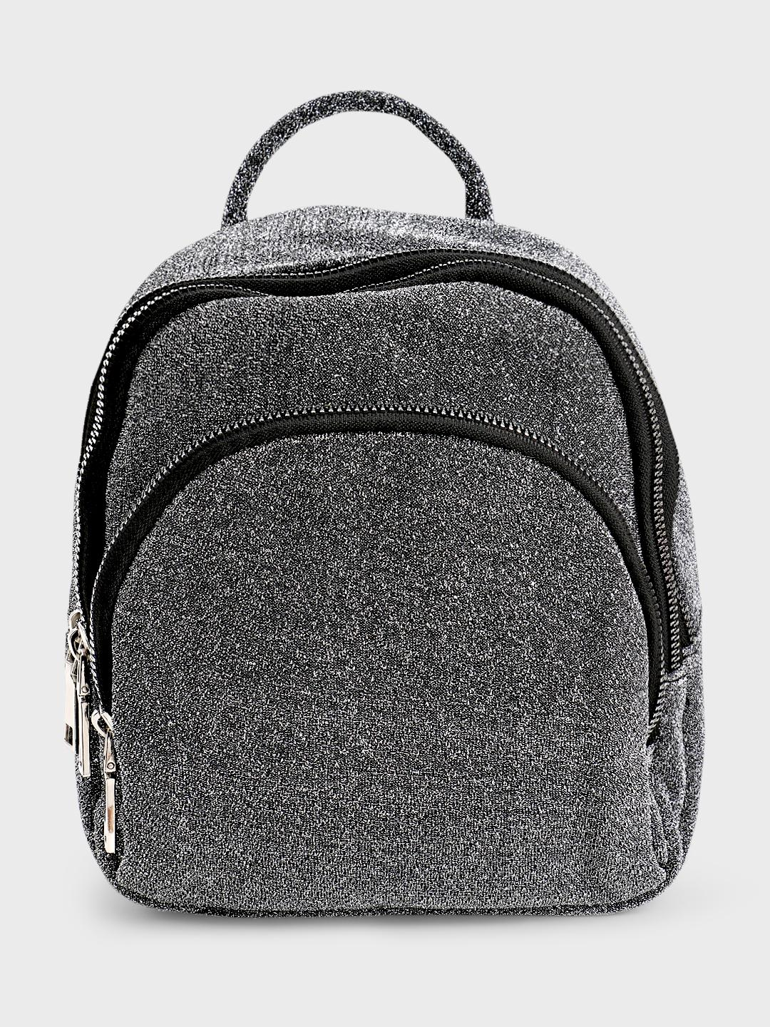 Origami Lily Silver Metallic Glitter Backpack 1