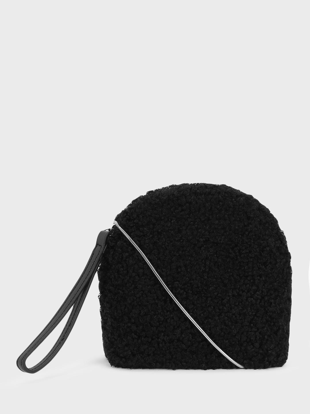 Origami Lily Black Furry Sling Bag 1