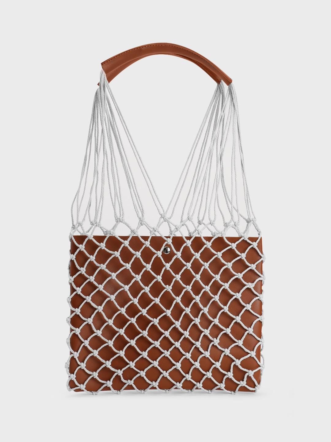Origami Lily Brown Fish Net Tote Bag 1