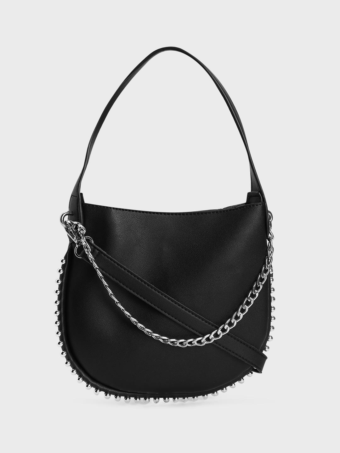 Origami Lily Black Chain Studded Tote Bag 1
