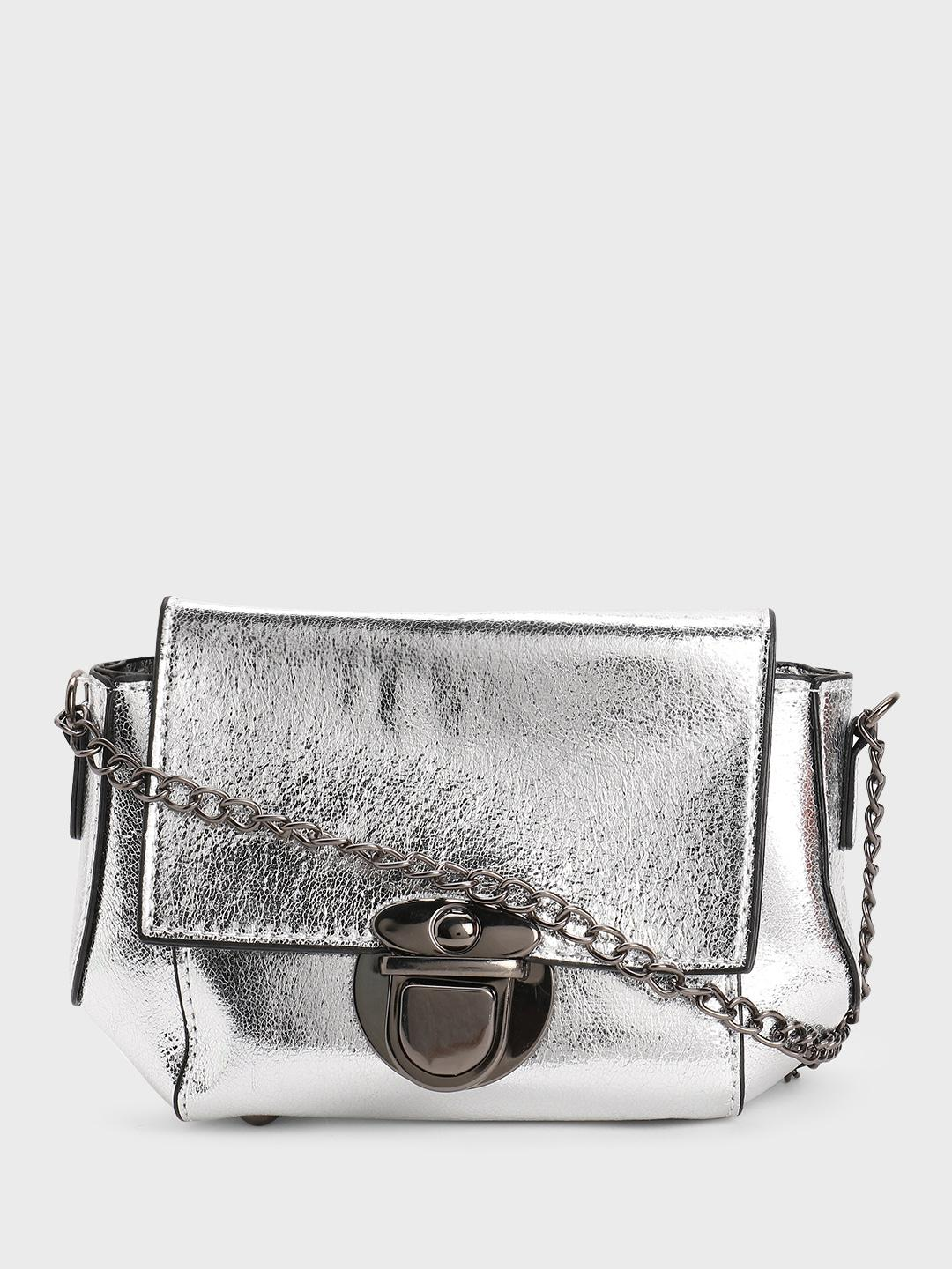 Origami Lily Silver Metallic Sling Bag 1