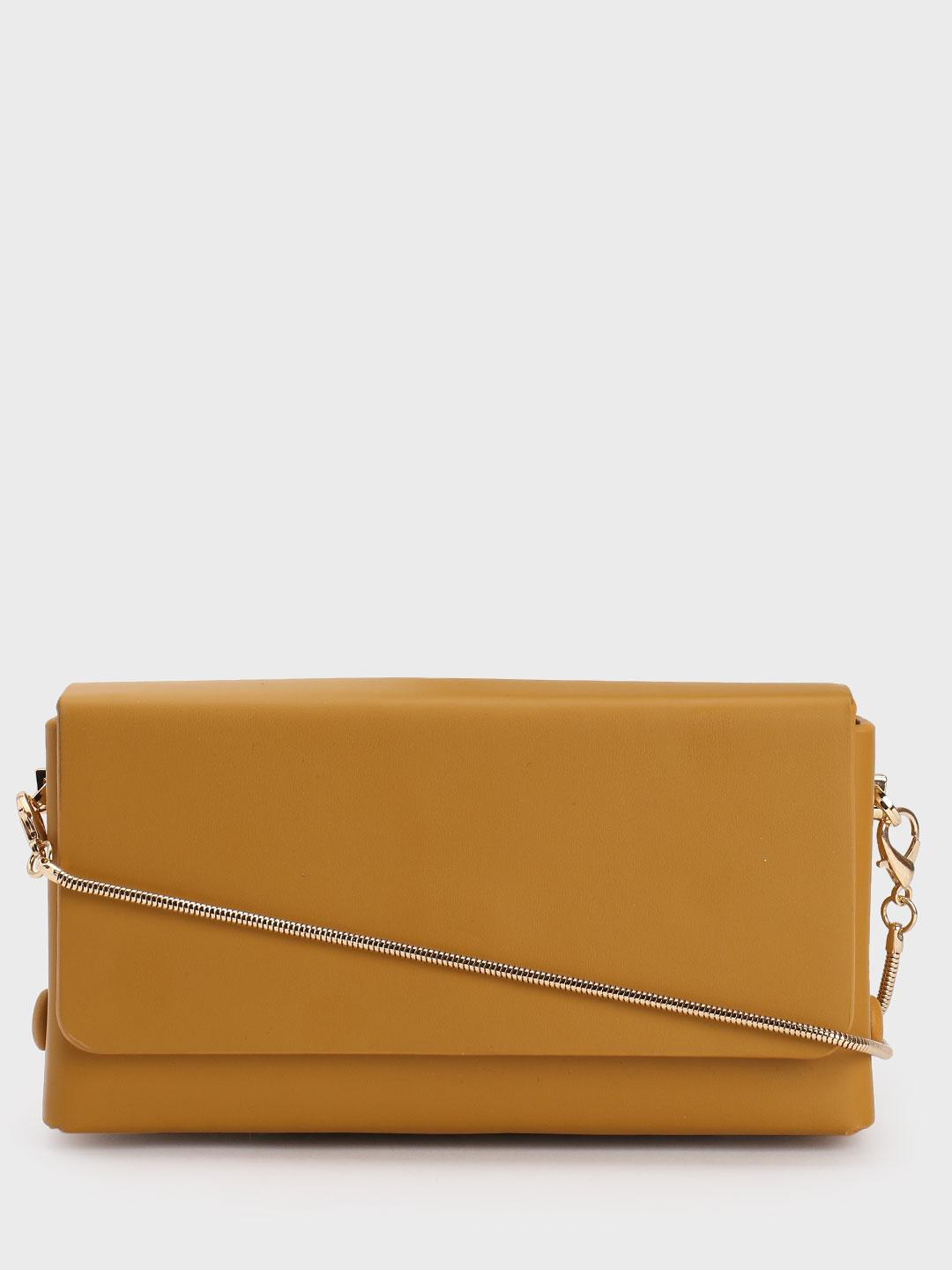 Origami Lily Mustard Rectangular Structured Sling Bag 1