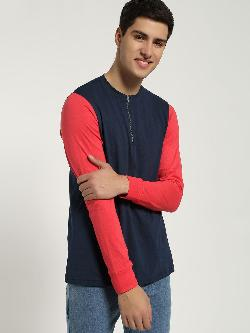 Blue Saint Contrast Sleeve Zipper T-Shirt