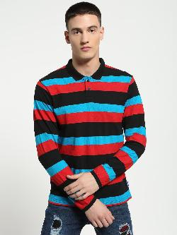 Blue Saint Stripe Long Sleeve Polo Shirt