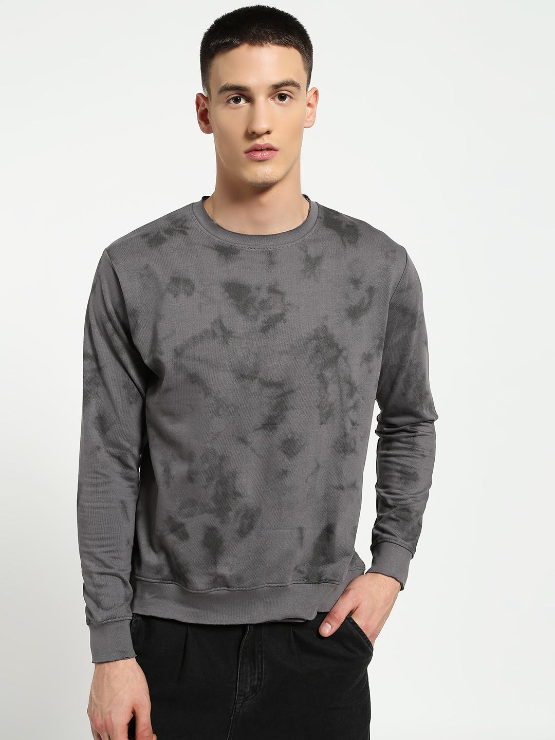 Blue Saint Grey Marble Print Raw Edge Sweatshirt 1