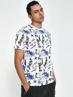 Blue Saint Graffiti Print Crew Neck T-Shirt