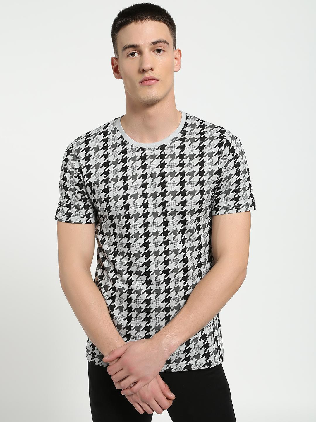 Blue Saint Grey All Over Houndstooth Check T-Shirt 1