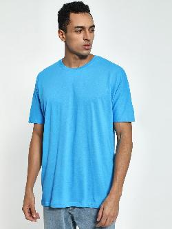 Blue Saint Drop Shoulder Longline T-Shirt