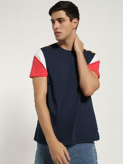 Blue Saint Colour Block Sleeve T-Shirt