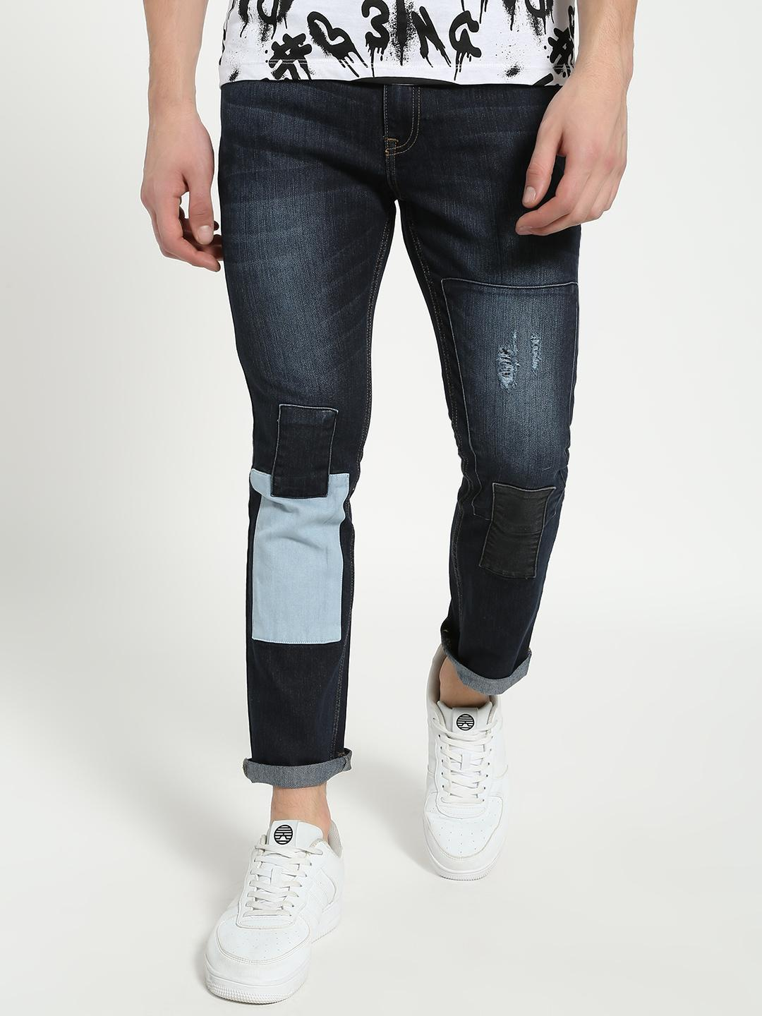 Blue Saint Blue Contrast Patch Washed Slim Jeans 1