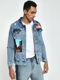 Blue Saint Acid-Wash Digital Patch Denim Jacket