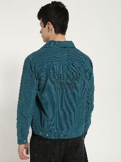 Blue Saint Embroidered Text Back Corduroy Shacket