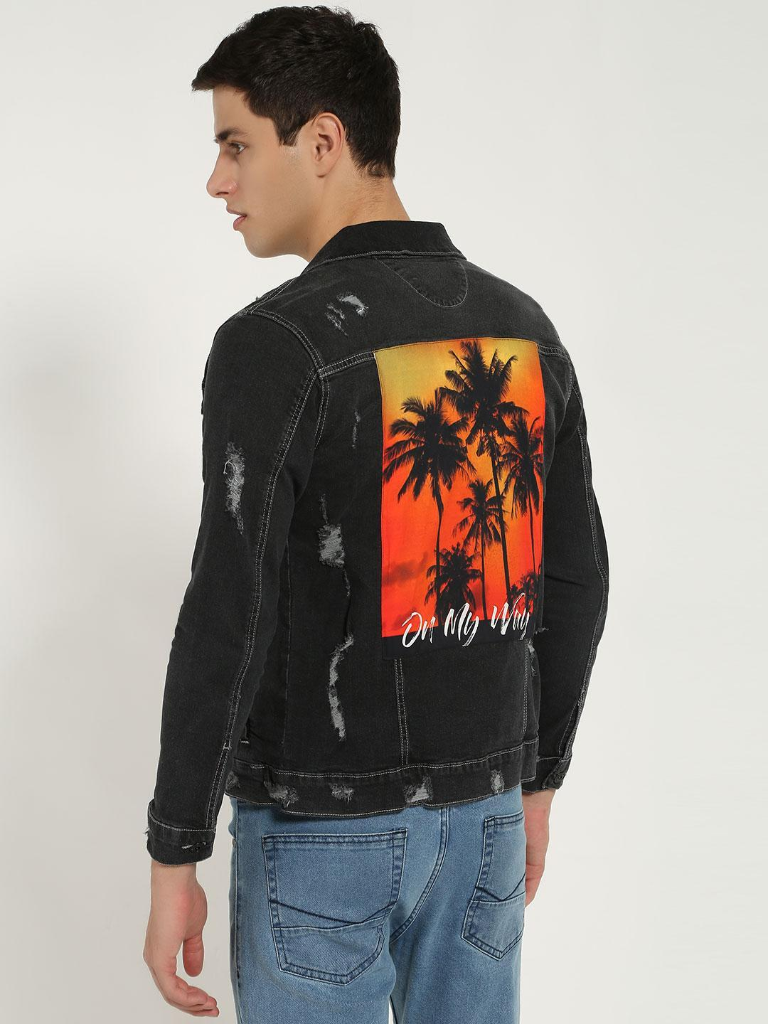 Blue Saint Black Tropical Print Patch Denim Jacket 1