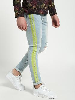 Blue Saint Distressed Side Tape Skinny Jeans