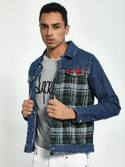 Blue Saint Checkered Panel Denim Jacket
