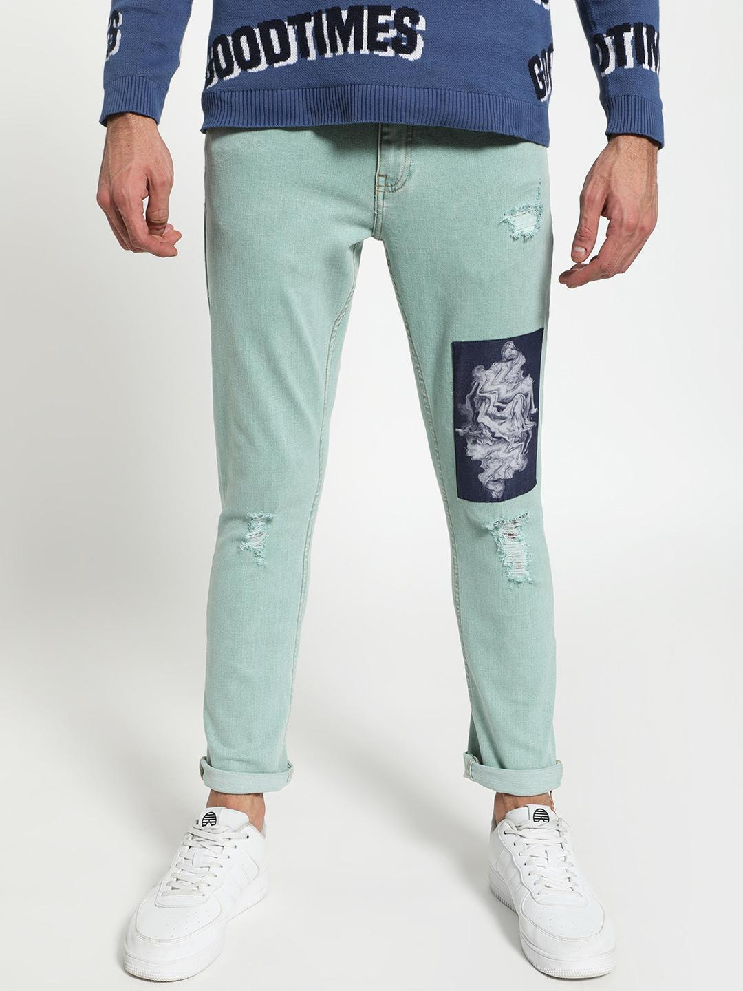 Blue Saint Blue Printed Patch Ripped Slim Jeans 1