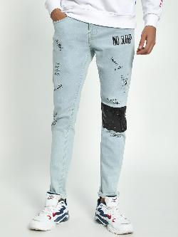 Blue Saint Ice Wash Contrast Panel Skinny Jeans