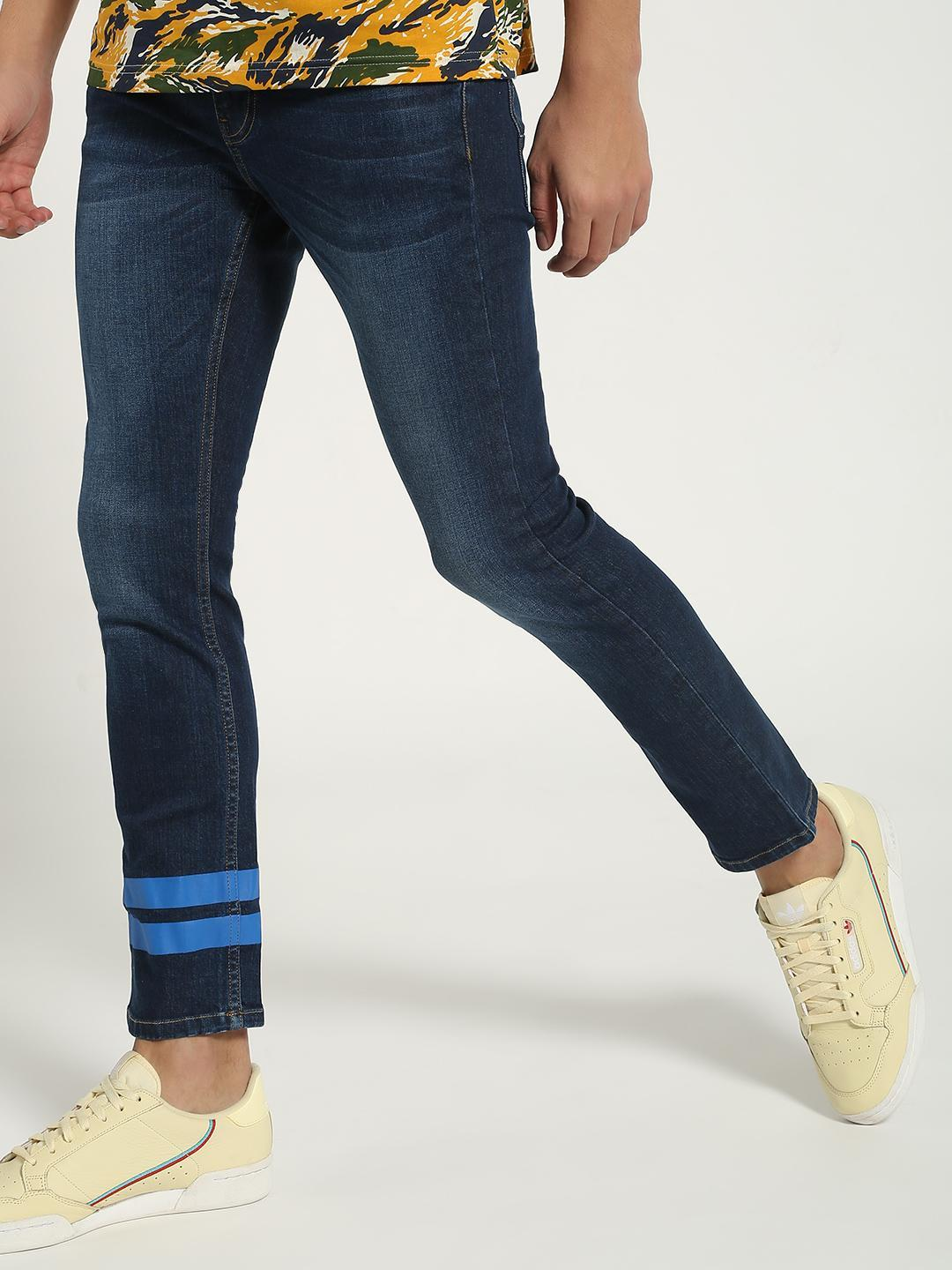 Blue Saint Blue Double Stripe Mid-Wash Slim Jeans 1
