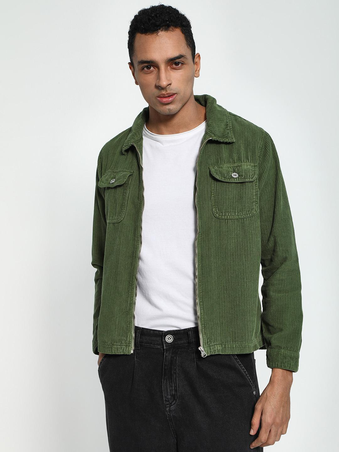 Blue Saint Green Twin Pocket Corduroy Shacket 1