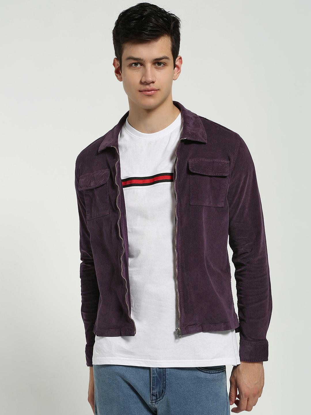 Blue Saint Purple Twin Pocket Corduroy Shacket 1