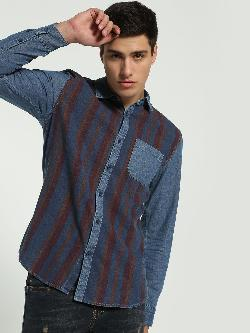 Blue Saint Vertical Stripe Denim Shirt
