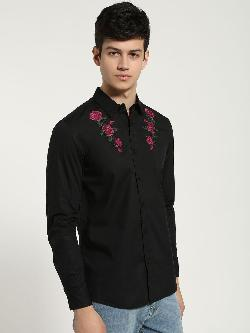 Blue Saint Floral Embroidered Long Sleeve Shirt